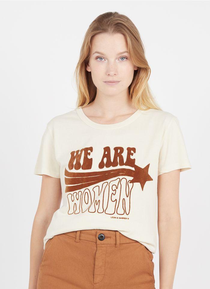 LEON & HARPER Tee-shirt col rond sérigraphie velours en coton bio  Beige