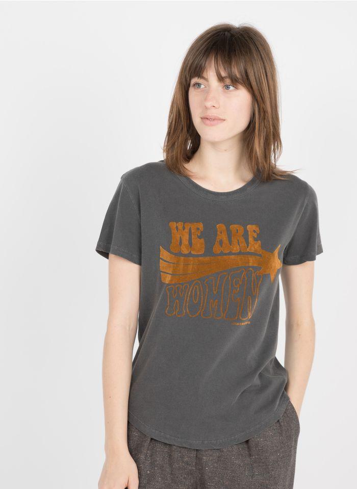 LEON & HARPER Tee-shirt col rond sérigraphie velours en coton bio  Gris