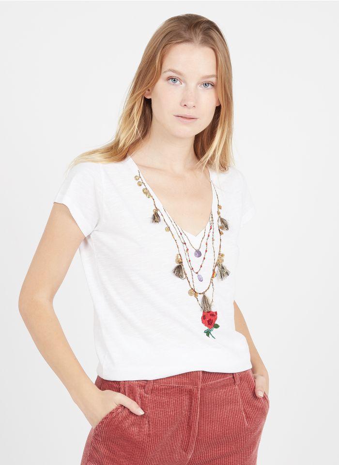 LEON & HARPER Tee-shirt col V brodé en coton biologique  Blanc