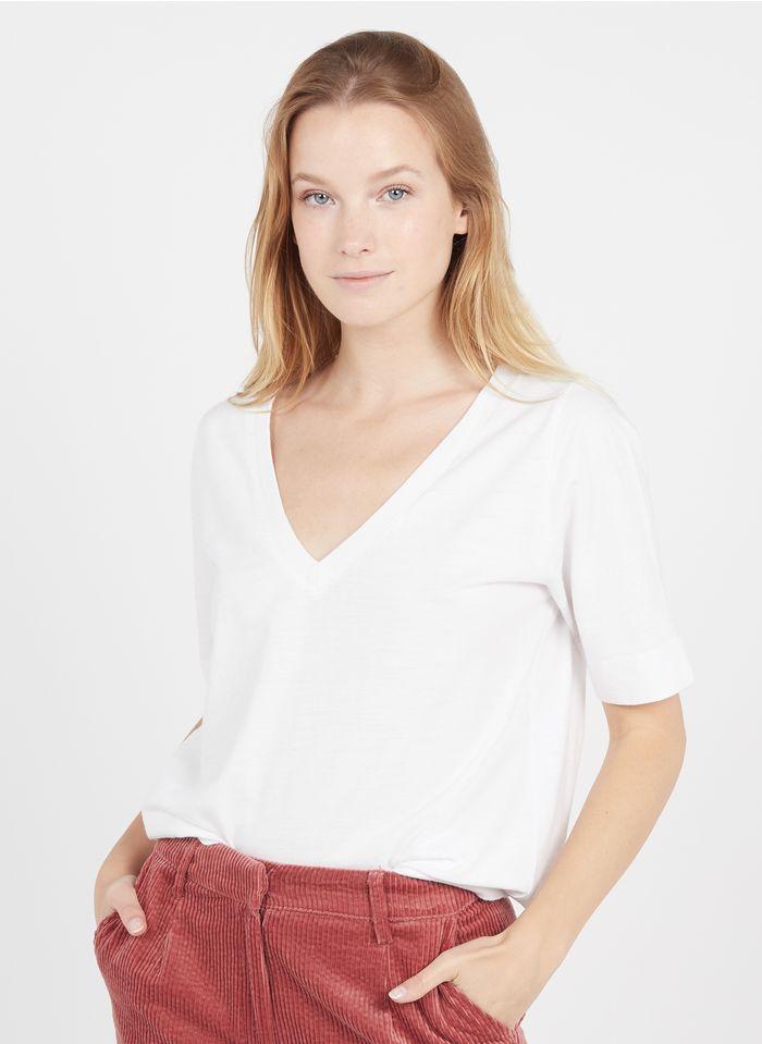 LEON & HARPER Tee-shirt col V en coton bio  Beige