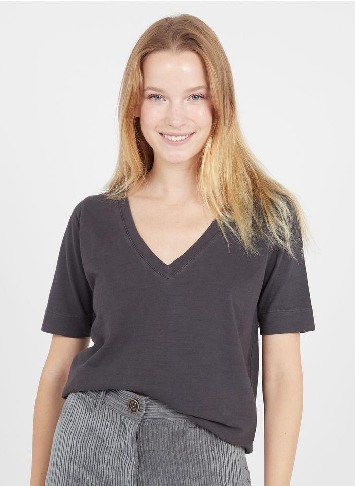 LEON & HARPER Tee-shirt col V en coton bio  Gris
