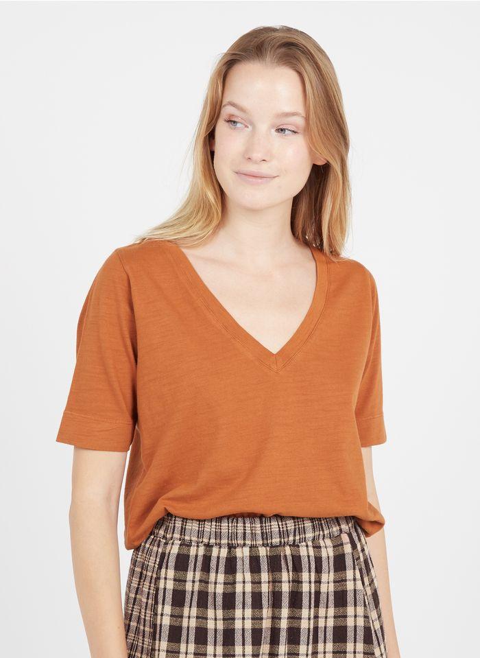 LEON & HARPER Tee-shirt col V en coton bio  Orange
