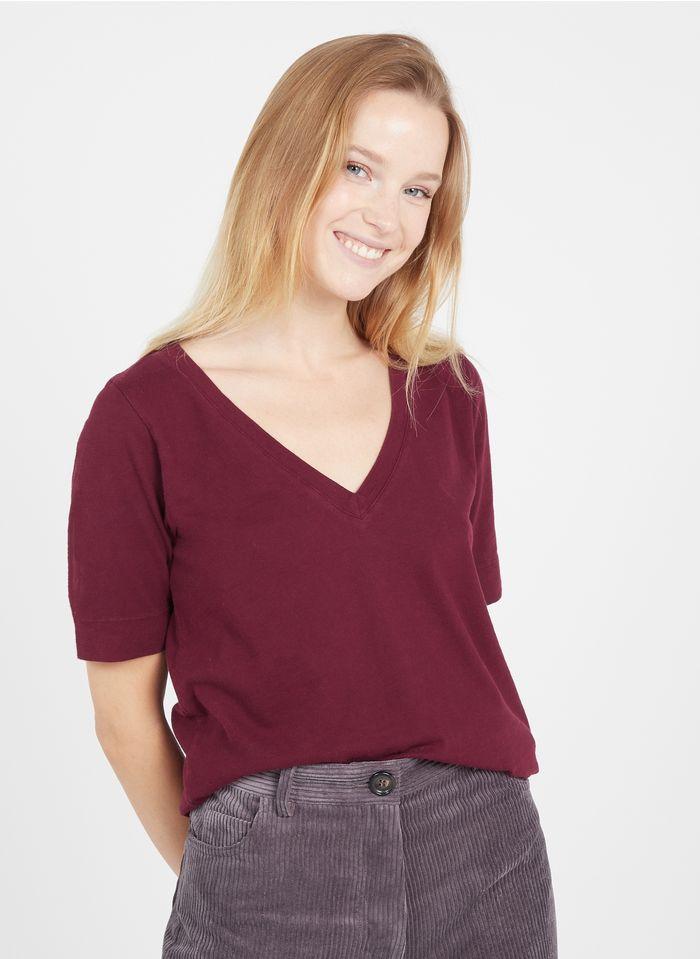 LEON & HARPER Tee-shirt col V en coton bio  Rouge