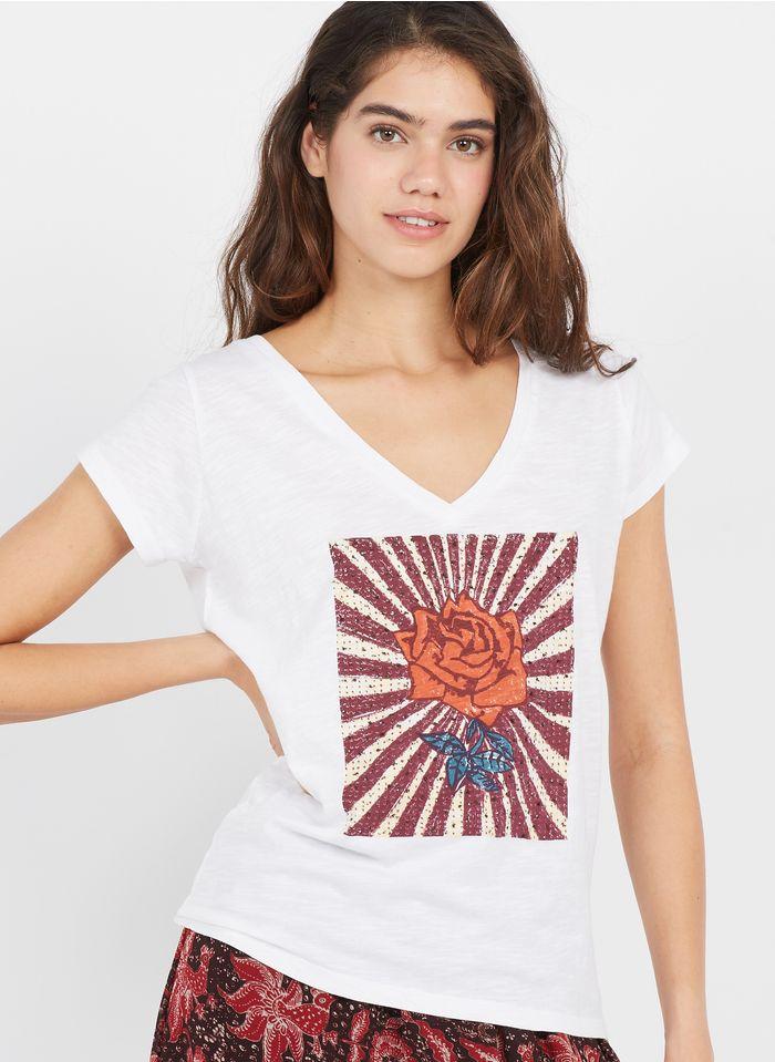 LEON & HARPER Tee-shirt col V imprimé en coton biologique  Blanc