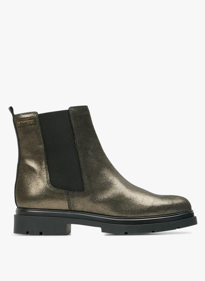 LES TROPEZIENNES Chelsea boots irisée en cuir Doré