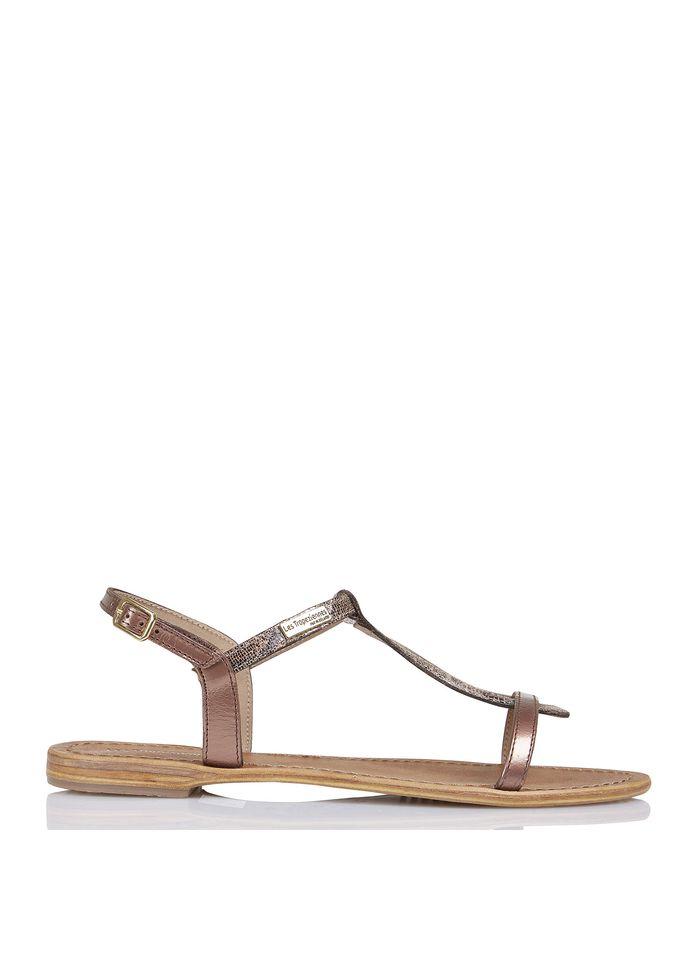 LES TROPEZIENNES Sandales plates en cuir imprimé python Doré