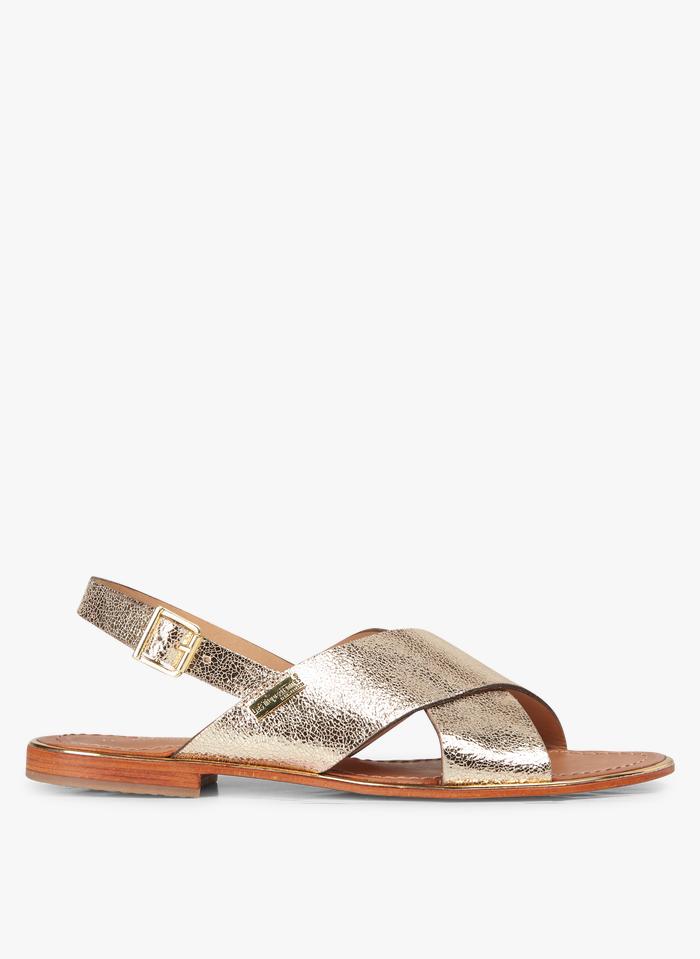 LES TROPEZIENNES Sandales plates métallisées en cuir Doré