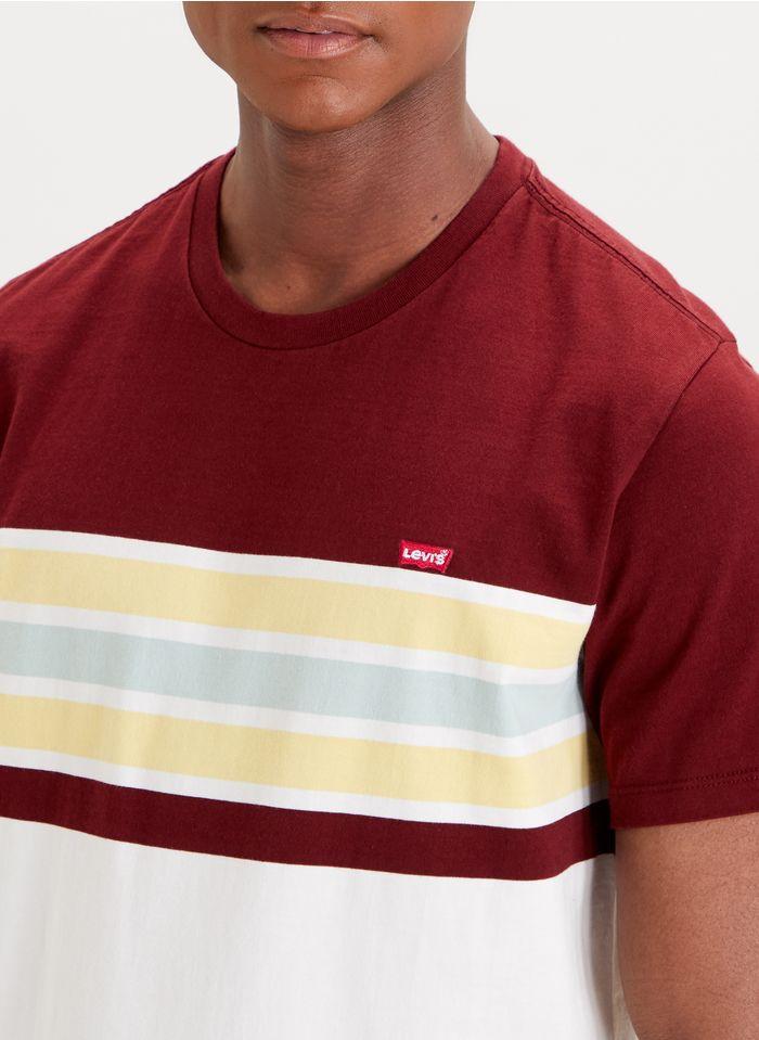 LEVI'S Tee-shirt col rond rayé en coton  Rouge