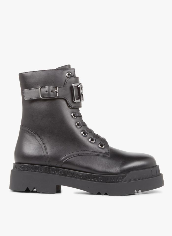 LIU JO Boots à lacets en cuir Noir