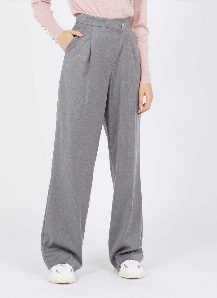 LIU JO Pantalon large avec braguette asymétrique  Gris