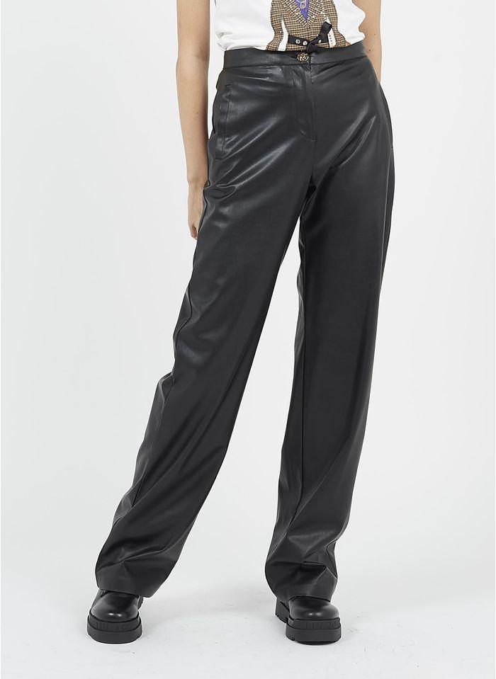LIU JO Pantalon large enduit Noir