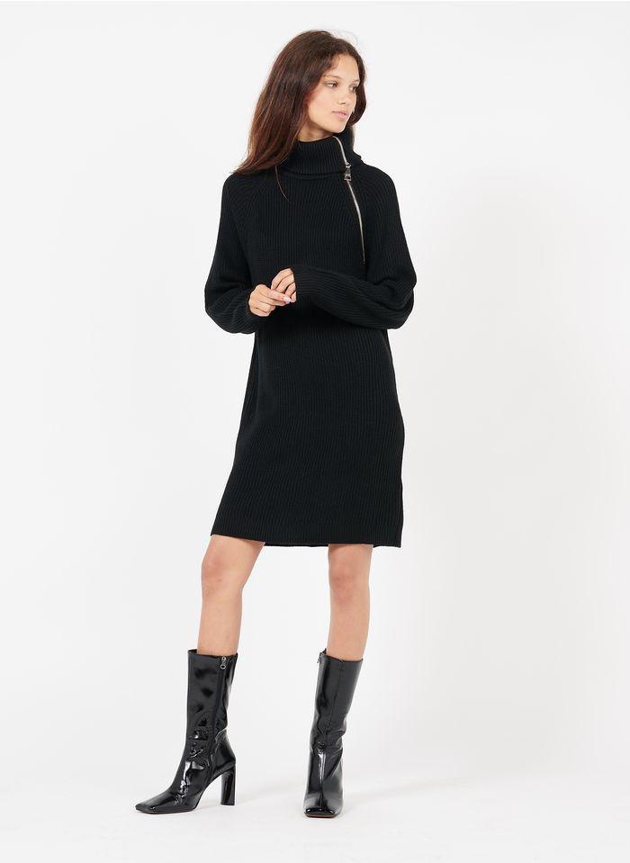 LIU JO Robe pull courte col roulé avec zip  Noir