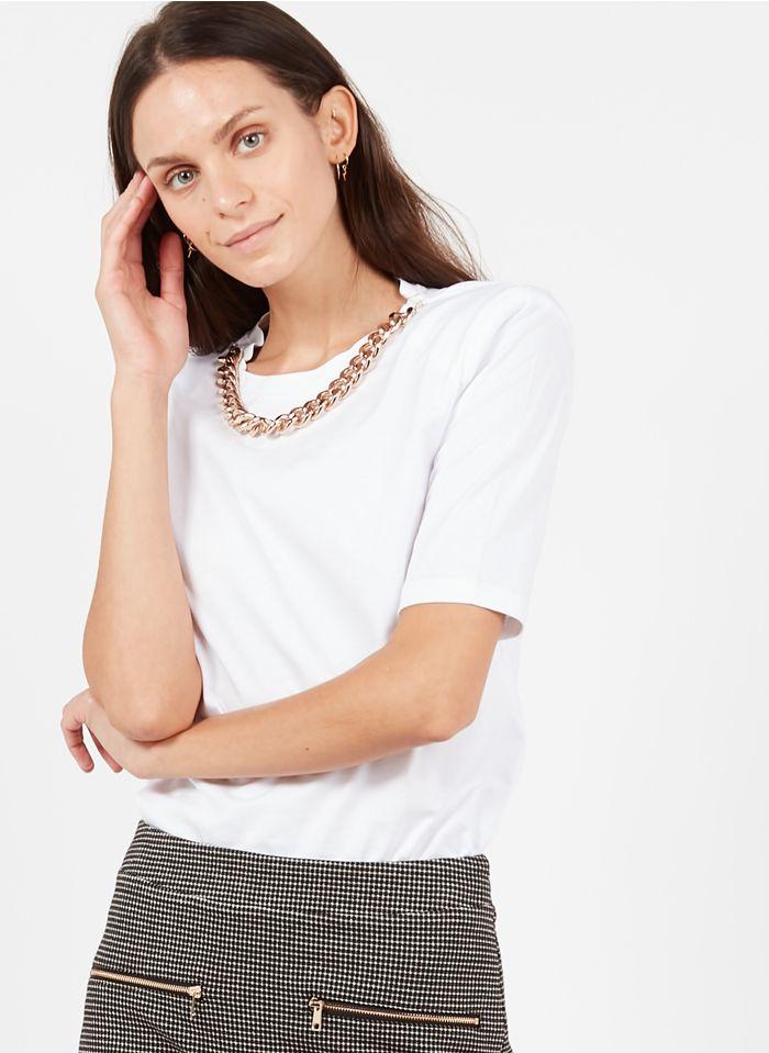 LIU JO Tee-shirt col rond détail chaîne Blanc