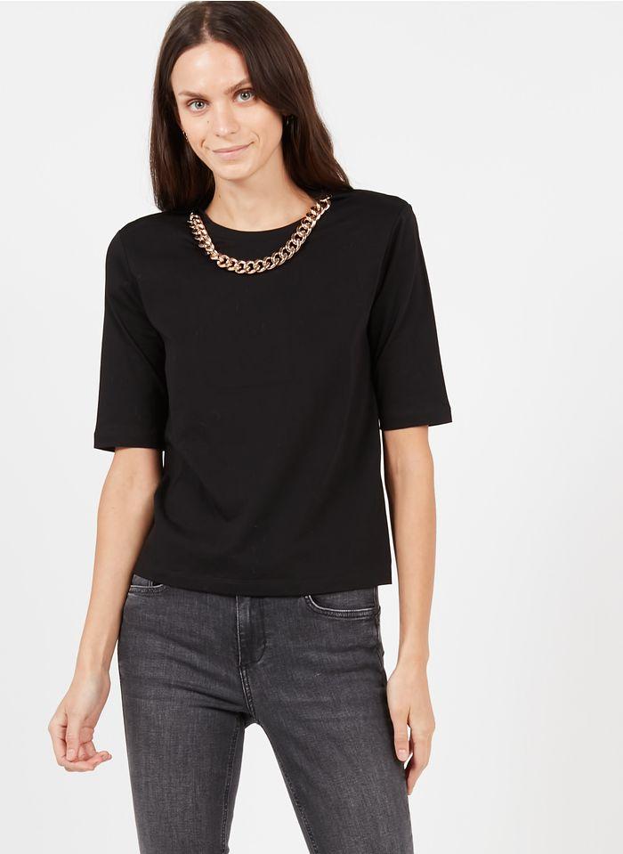 LIU JO Tee-shirt col rond détail chaîne Noir
