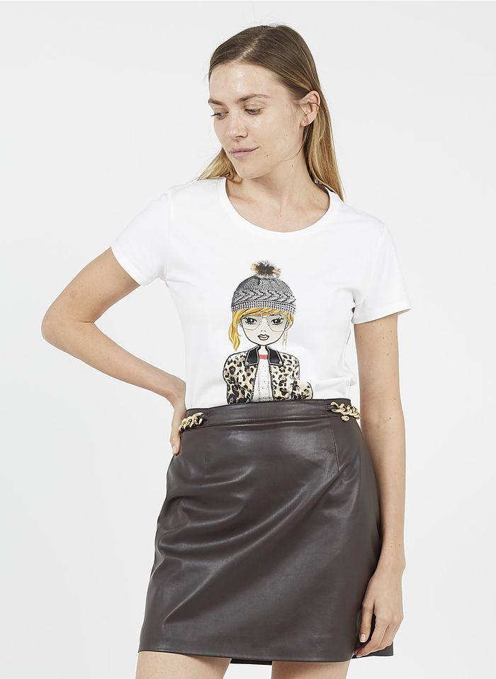 LIU JO Tee-shirt col rond sérigraphié en coton Blanc