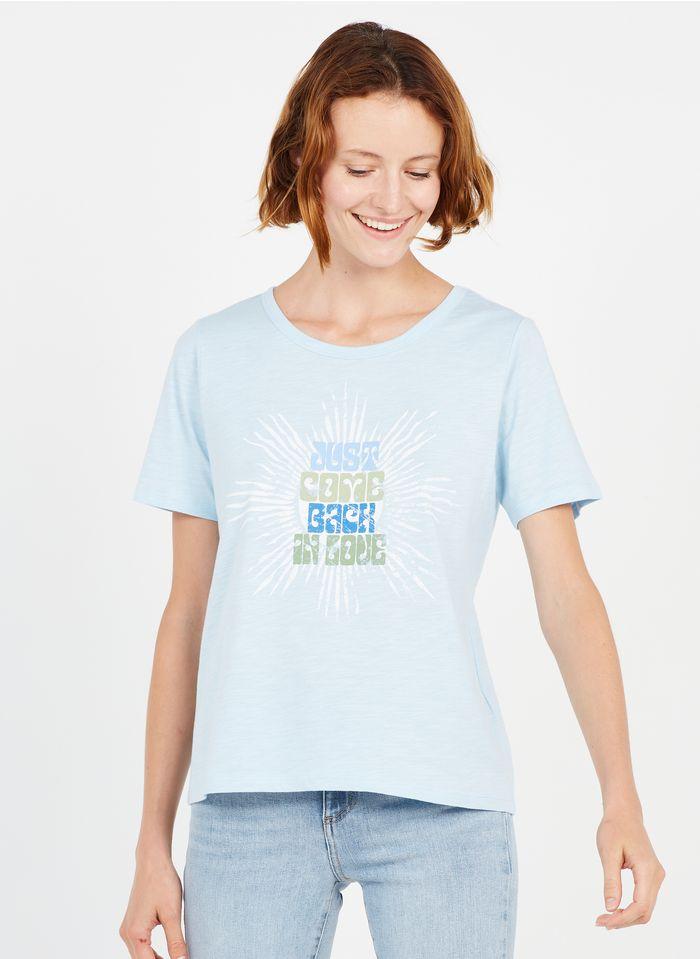 MAISON 123 Tee-shirt col rond sérigraphié en coton Jean Délavé