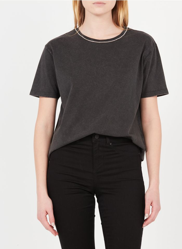 MAISON 123 Tee-shirt en coton avec strass Gris