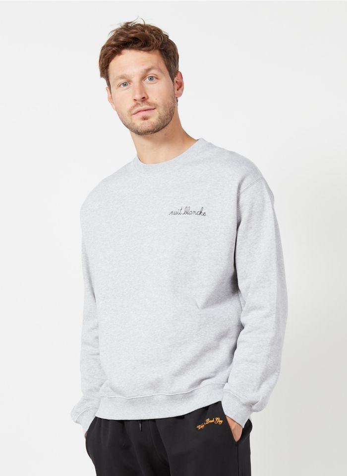 MAISON LABICHE Sweatshirt col rond regular-fit brodé nuit blanche en coton bio Gris