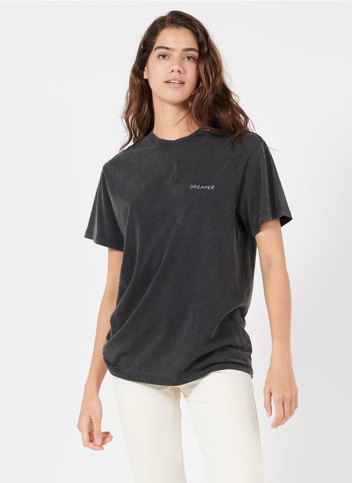 MAISON LABICHE Tee-shirt col rond brodé dream en coton bio Noir