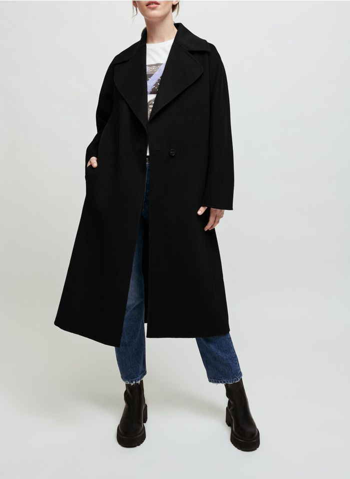 MAJE Manteau col tailleur à ceinturer en laine mélangée Noir