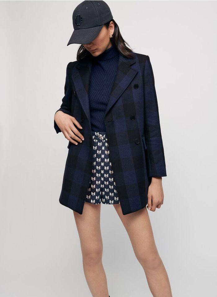 MAJE Manteau col tailleur double boutonnage à carreaux Bleu