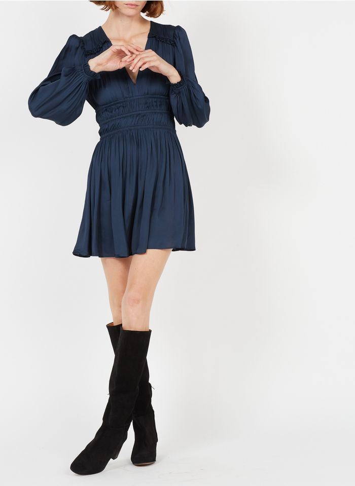 MAJE Robe courte taille cintrée Bleu