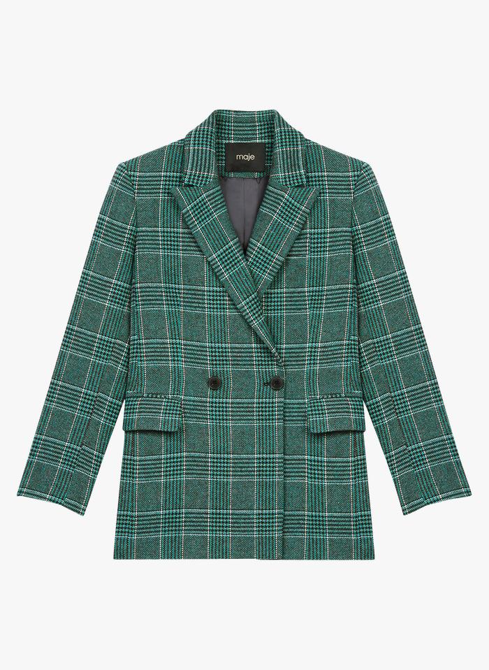 MAJE Veste col tailleur à motifs carreaux Vert