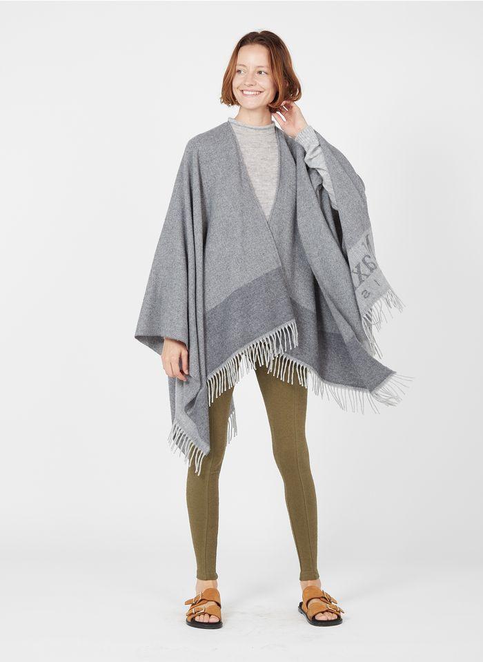 MAX MARA LEISURE Poncho à franges en laine mélangée Gris