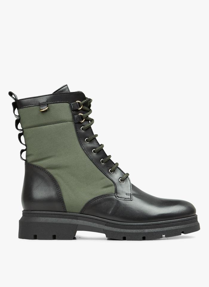MELLOW YELLOW Boots à lacets bi-matière Kaki