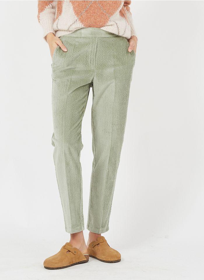 MOMONI pantalon droit en velours côtelé Vert