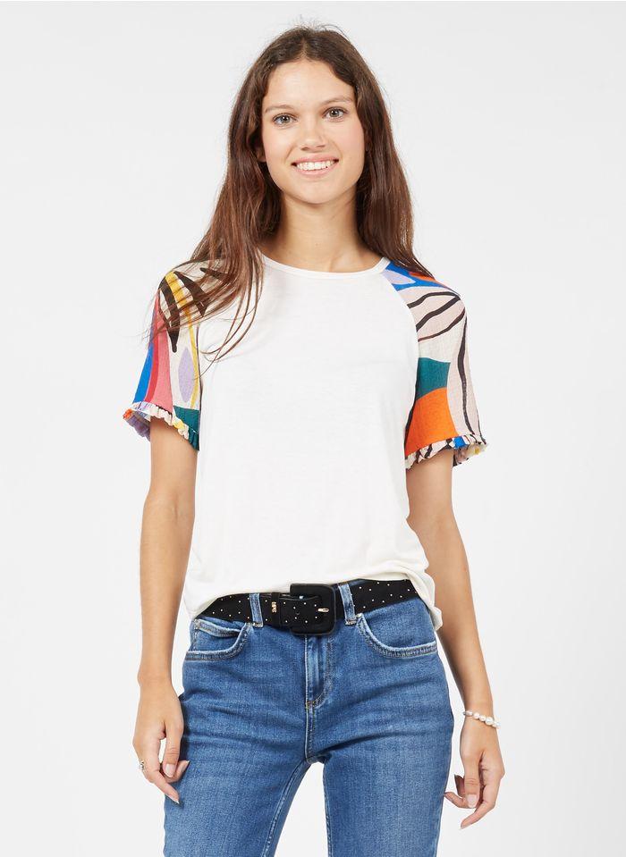 NAF NAF Tee-shirt col rond avec empiècements imprimés Multicolore