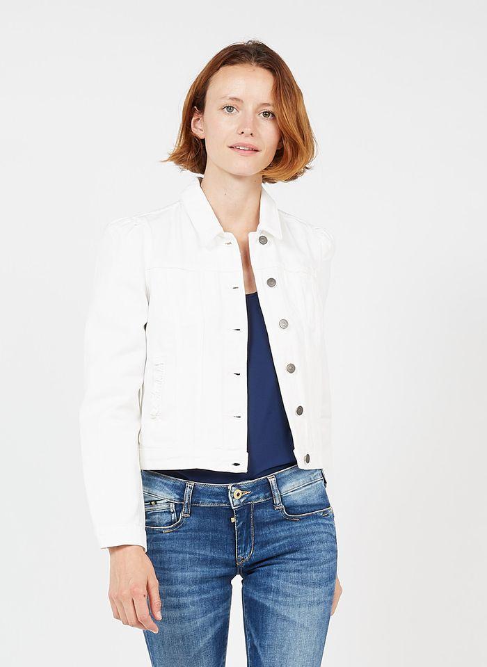 NAF NAF Veste en jean col classique Blanc