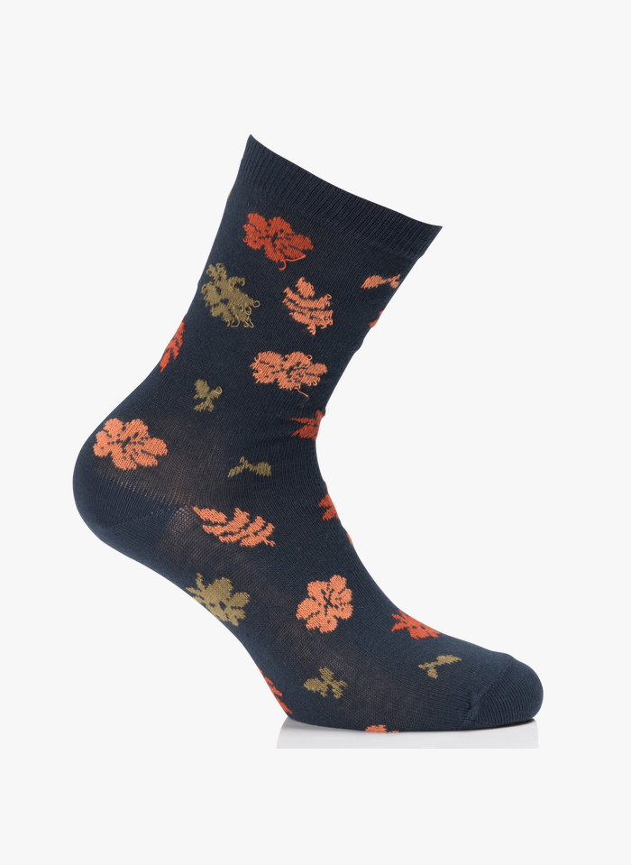 NICE THINGS Chaussettes jacquard fleurs en coton mélangé Multicolore