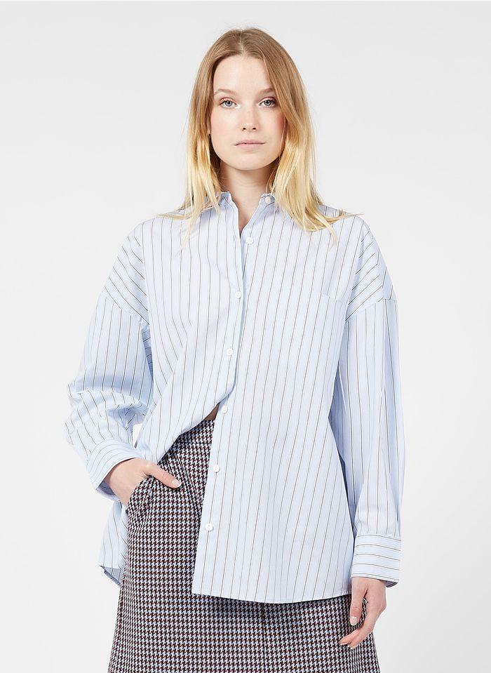 NICE THINGS Chemise ample col classique rayée en coton Bleu
