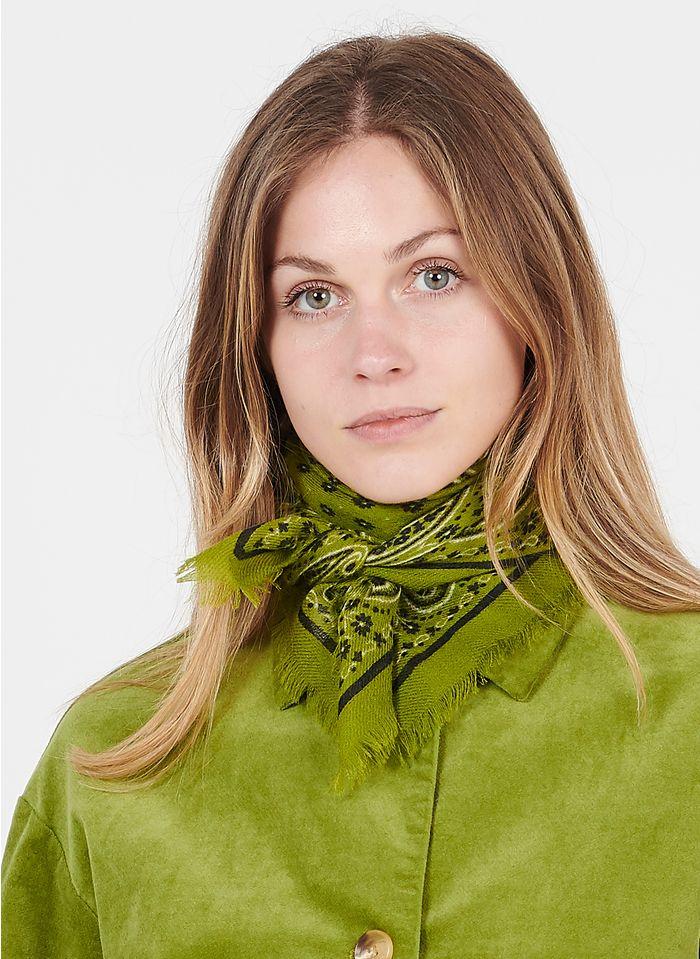 NICE THINGS Foulard imprimé bandana en laine Vert