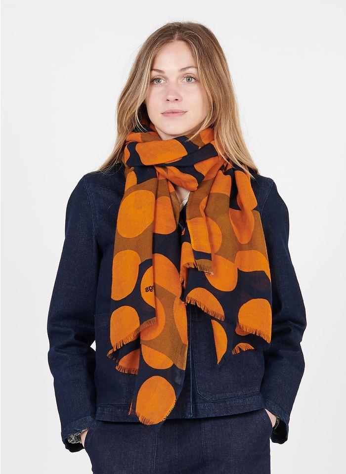 NICE THINGS Foulard motif gros pois en laine mélangée Orange
