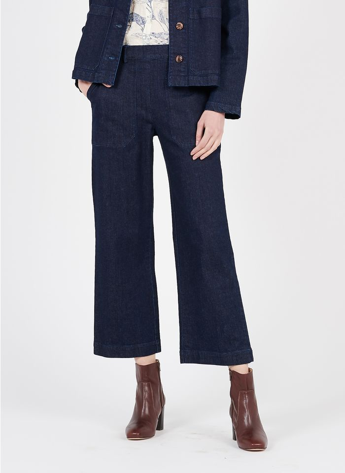 NICE THINGS Jean large taille haute Bleu