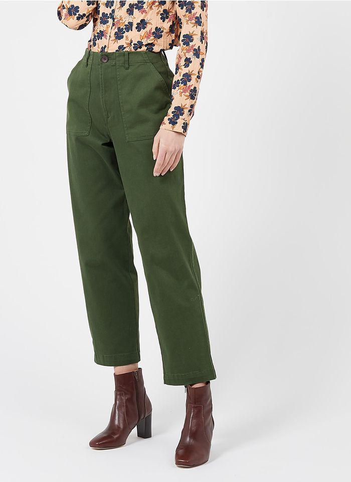 NICE THINGS Pantalon cargo taille haute en coton Vert