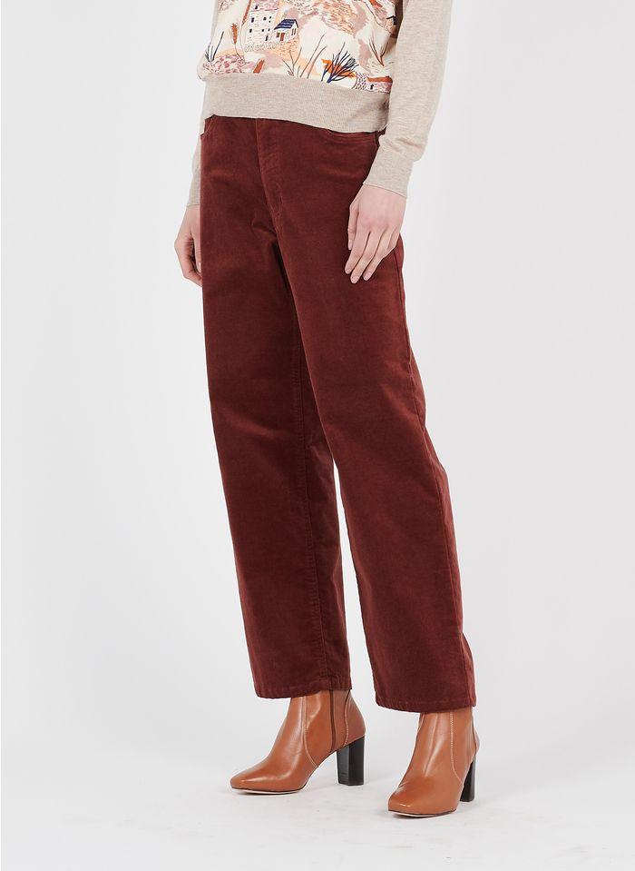 NICE THINGS Pantalon droit 5 poches en coton velours  Marron