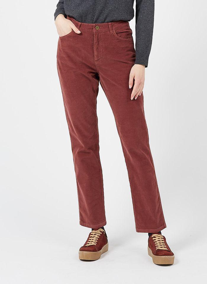 NICE THINGS Pantalon droit en velours côtelé Marron