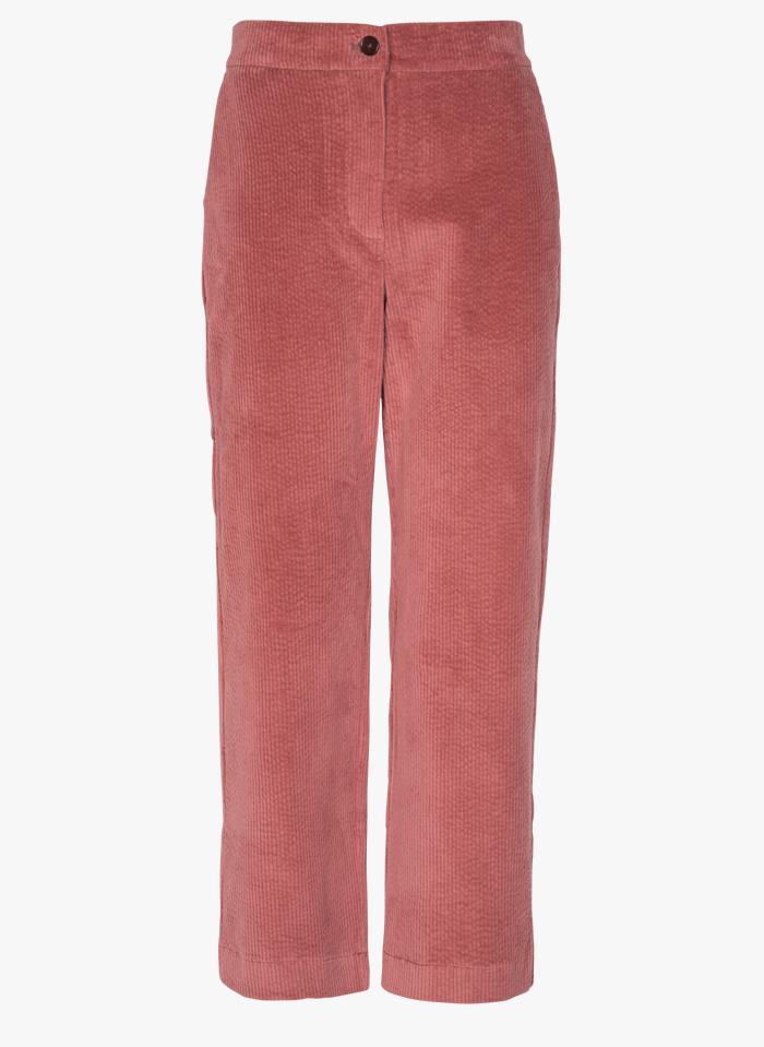 NICE THINGS Pantalon droit en velours côtelé Rose