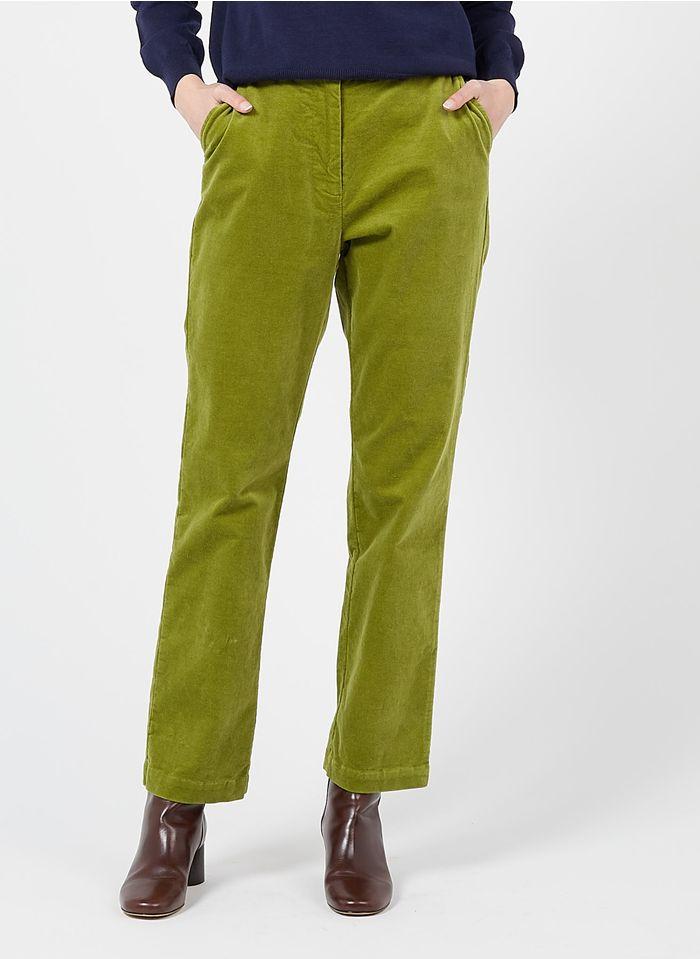 NICE THINGS Pantalon droit en velours Vert