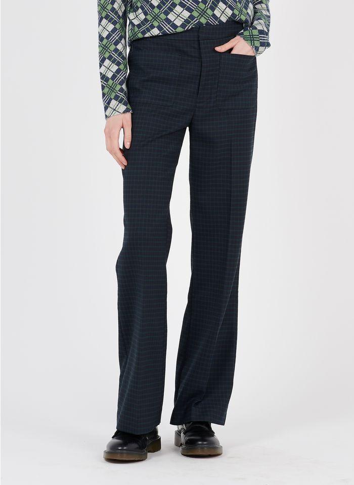 NICE THINGS Pantalon droit taille haute à carreaux  Multicolore