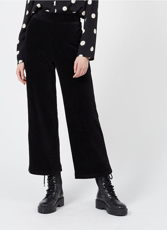 NICE THINGS Pantalon large en velours côtelé Noir
