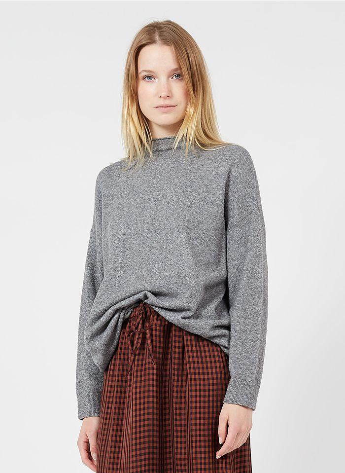 NICE THINGS Pull col montant oversize en laine mélangée Gris
