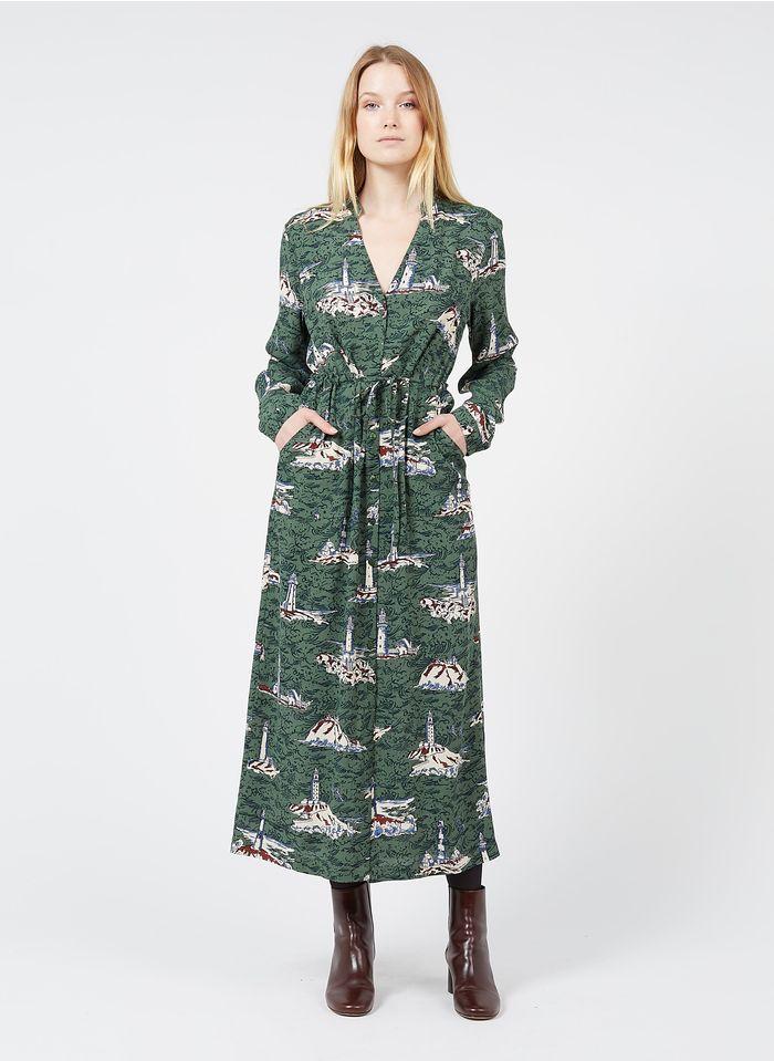 NICE THINGS Robe longue col tunisien imprimée Vert