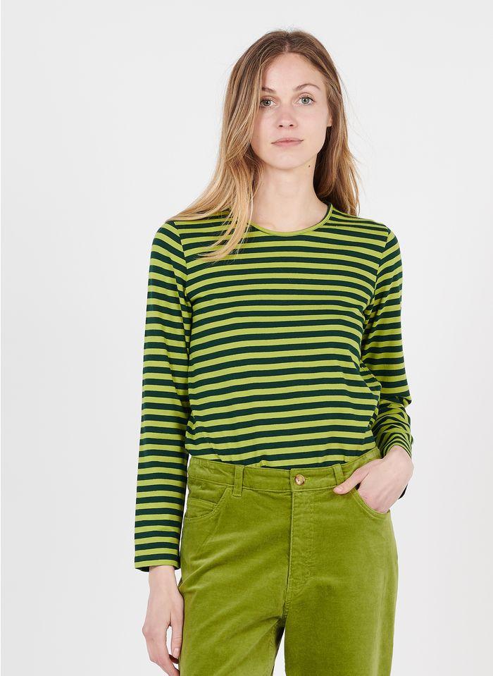 NICE THINGS Tee-shirt col rond rayé en coton Multicolore