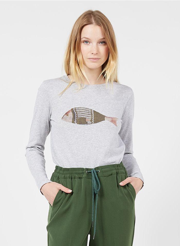NICE THINGS Tee-shirt col rond sérigraphié en coton Gris