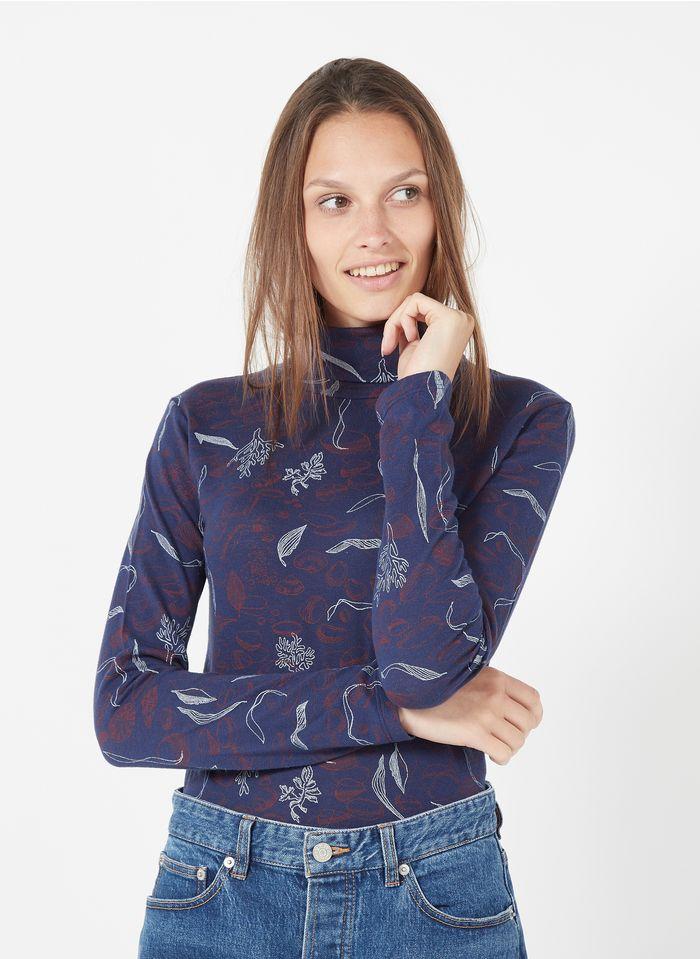 NICE THINGS Tee-shirt col roulé sérigraphié en coton mélangé Multicolore