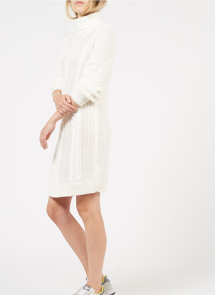 OBJECT Robe courte col montant en maille  Blanc